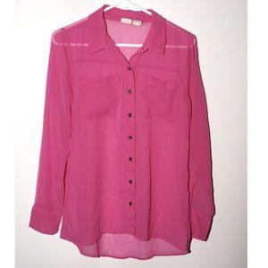 Bright raspberry pink sheer long sleeve shirt